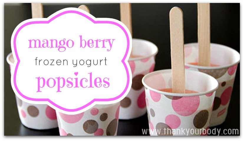 Mango Berry Frozen Yogurt Popsicles. So yummy and perfect for summer.