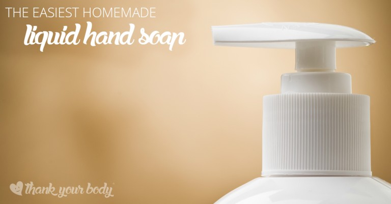 This homemade liquid hand soap is super easy to make and doesn't contain any scary or questionable ingredients. Oh yeah, and it's cheap!