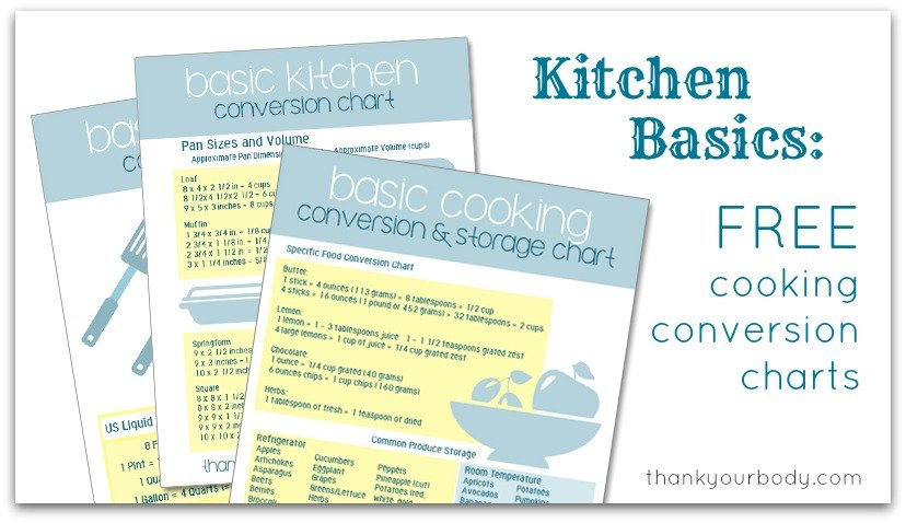 Kitchen Basics: Handy Cooking Conversion Charts (FREE downloads)