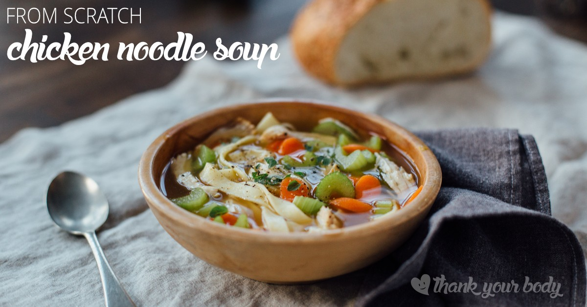 Make this savory, all-natural chicken noodle soup from scratch! Organic chicken and vegetables with homemade noodles (grain free option). Good, and healthy!