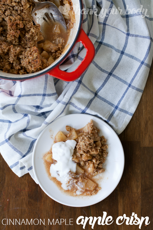 Cinnamon Maple Apple Crisp! Warm cinnamon and a hint of maple with tart apples under a chewy oatmeal crust to give this healthy dessert its character.
