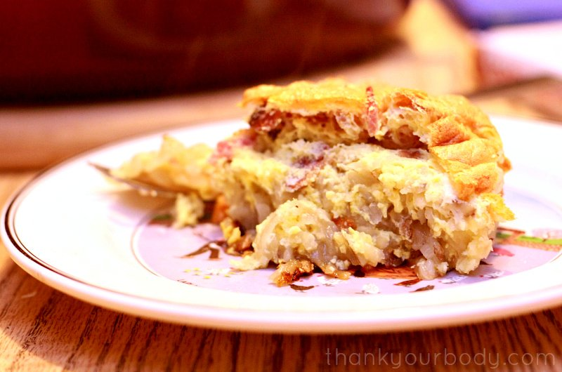 Delicious potato crusted bacon bits and egg pie, from Silvana Nardone's book