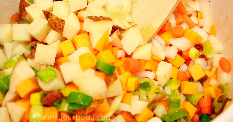 Hearty Winter Vegetable Chowder is savory and filling.
