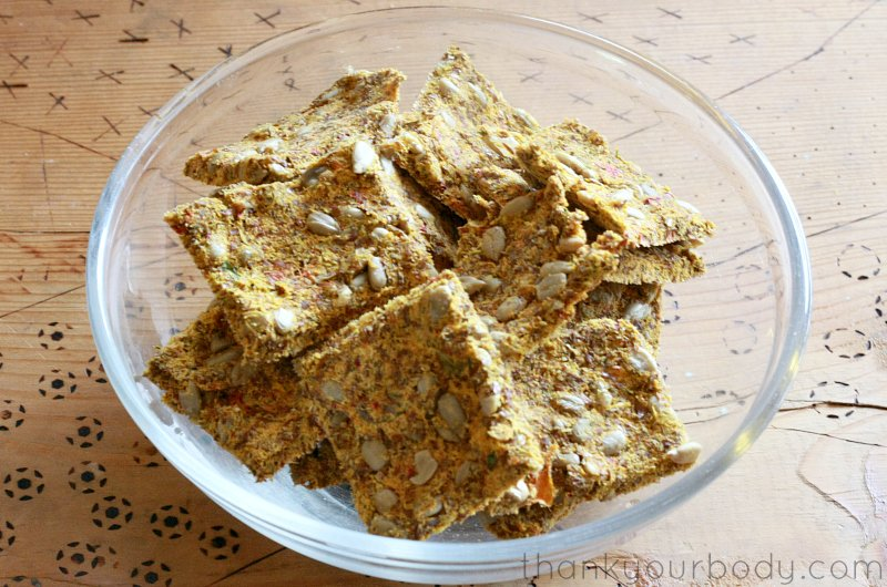 Recycle the pulp from your juicer to make these delicious, grain-free crackers!