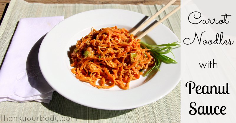 Have you tried vegetable noodles? Carrot noodles with savory peanut sauce...healthy and so good!