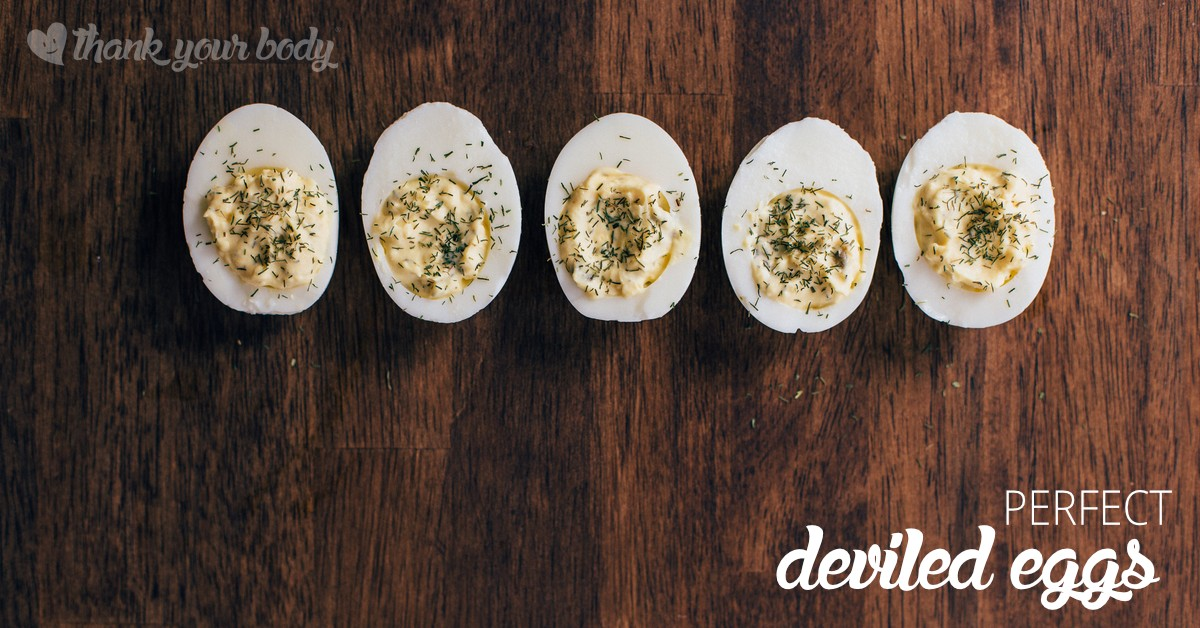 Perfect deviled eggs are easy to make, and an excellent source of protein. They are also a pretty appetizer or snack, dressing up your table!