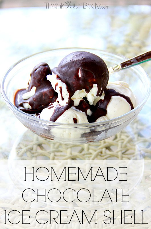 Just 3 healthy ingredients go in this amazing chocolate ice cream shell! Pours on and hardens over ice cream.