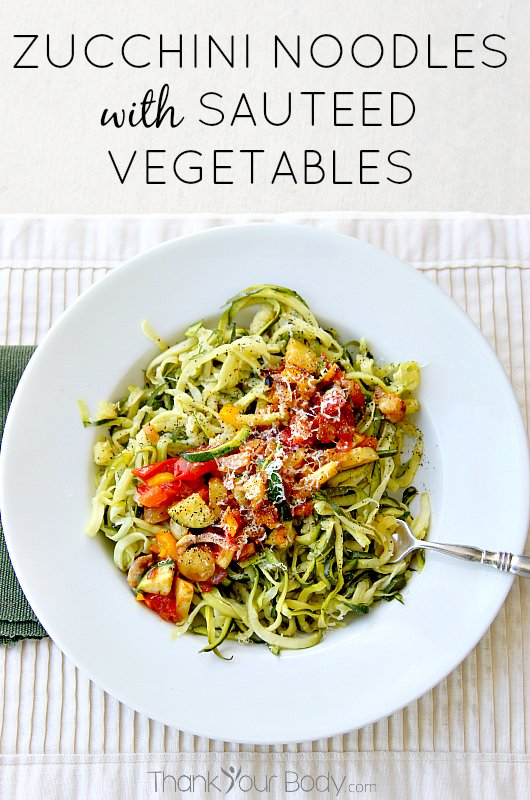 Zucchini noodles are healthy and delicious! Try them with tender sauteed vegetables and Asiago cheese. Yum!