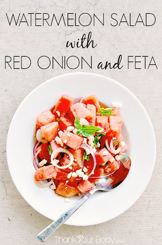 Fresh watermelon, red onion, basil and feta...a sweet-savory combination that makes a wonderful side salad!