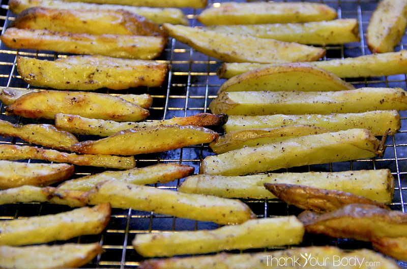 Have your fries, and eat them too! Healthy, crisp-baked french fries. So good!