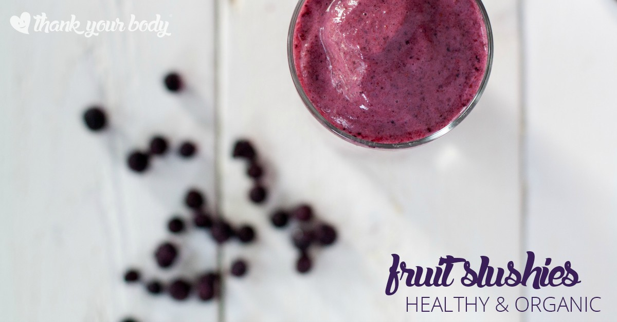 Make homemade fruit slushies with organic fresh fruit! Recipes for Mango Berry, Watermelon Mint, and Blueberry Lime. Simple, healthy, and so refreshing!