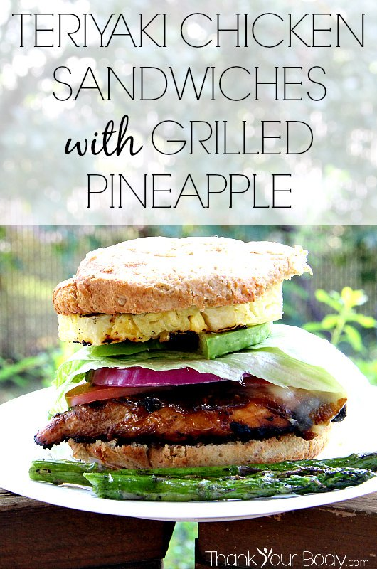 Try this amazing, healthy sandwich! Savory grilled chicken with homemade Teriyaki, stacked on a bun with avocado, tomato, lettuce, onion, Swiss cheese and fresh grilled pineapple.