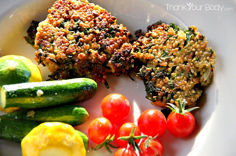 Kale and quinoa patties make a great main dish, a fantastic side, or a yummy addition to lunchboxes.