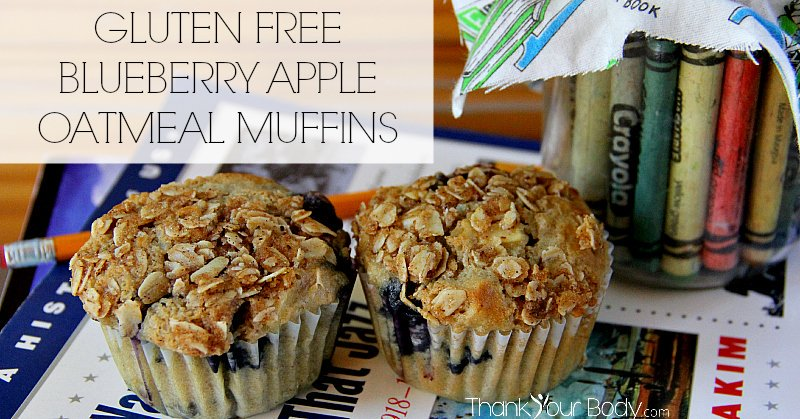 These gluten free blueberry apple oatmeal muffins have a moist, tender crumb and make a delicious breakfast!