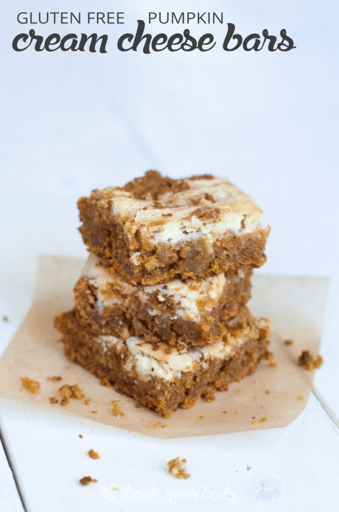 Delicious gluten free pumpkin cream cheese bars are a cross between a bar cookie and a cheesecake. Creamy, rich, decadent but full of vitamins and minerals!