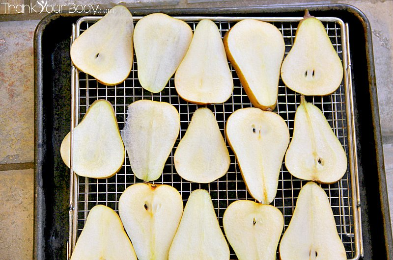It's easy to dehydrate fresh, organic pears...they make a wonderful and healthy snack!