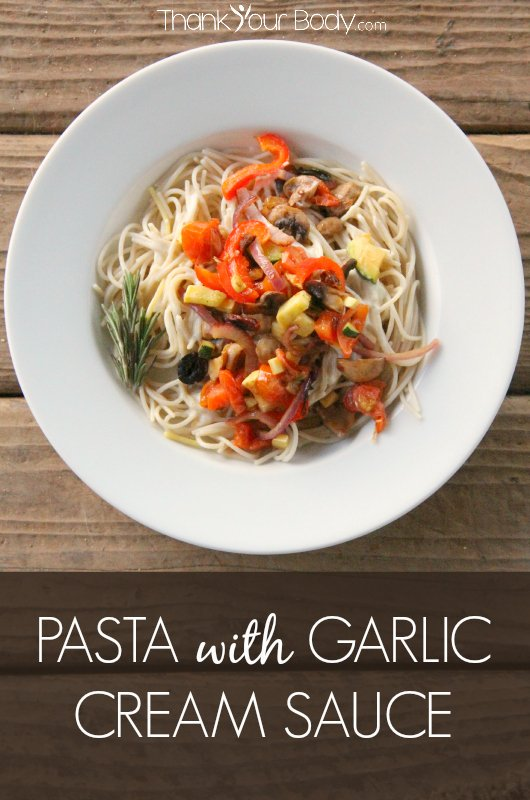 Pasta with vegetables and garlic cream sauce is simple and delicious. A great way to use up leftover vegetables. Healthy, easy, and so good!