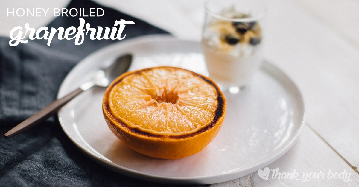 This honey broiled grapefruit recipe is so simple and so delicious. Looking for an easy breakfast? Look no further.