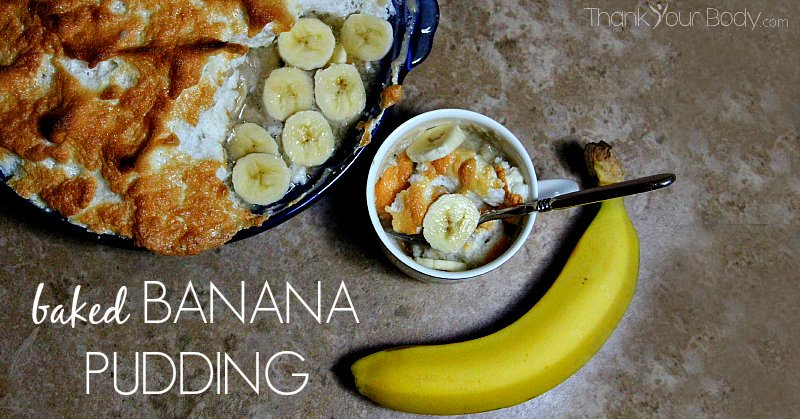 This real-food baked banana pudding is gluten free, pretty and delicious!