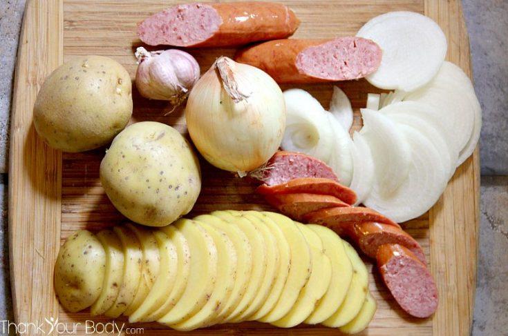 Slow Cooker Potatoes, Sausage and Sauerkraut